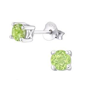 925 Sterling Silver Genuine Peridot Earrings